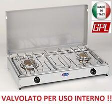 FORNELLO GAS GPL 2 F PIANALE INOX TELAIO GRIGIO VALVOLATO A NORMA USO INTERNO