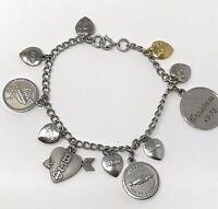 Vintage 70s Beta Sigma Phi Sorority Charm Bracelet Silver