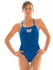 VTG Speedo Sapphire Blue Racerback High Cut One Piece Lifeguard Swimsuit 12/38