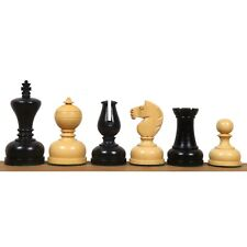 """3.1"""" Library Series Staunton Chess Pieces Only Set - Weighted Ebonised Boxwood"""