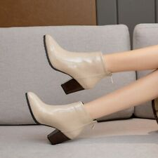 Women's Patent Leather Ankle Boots Pointed Toe Block Low Heels Side Zipper Shoes