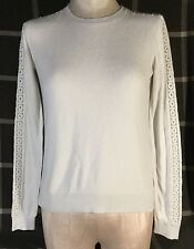 Ann Taylor LOFT Womens XS Shirt Embroidered Long Sleeve White W3
