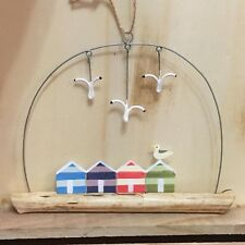 Beach huts with seagulls on driftwood, seaside shabby chic nautical.Shoeless joe