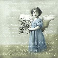 4x Paper Napkins for Decoupage, Vintage Christmas Angel