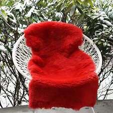 peau de mouton rouge Tondu 100 -110 cm tapis d'entrée déco fourrure naturelle