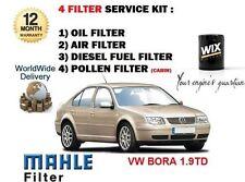 FOR VOLKSWAGEN VW BORA 1.9TD 1999-2005 OIL AIR FUEL POLLEN 4 FILTER SERVICE KIT