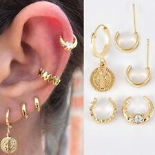 Small 5PCS/Set Gold Punk Ear Earrings Womens Band Jewelry Girl Crystal Hoop Stud
