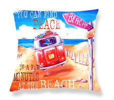Deborah Broughton Art Throw Pillow Cushion Cover 45x45cm Surf Beach & Kombi City to Surf - Text