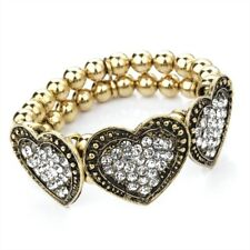 Three Hearts Beads & Diamante Bracelet in Gold Special Offer