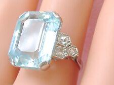 ART DECO 12 CT EMERALD CUT AQUAMARINE .25ctw DIAMOND PLATINUM COCKTAIL RING 1930