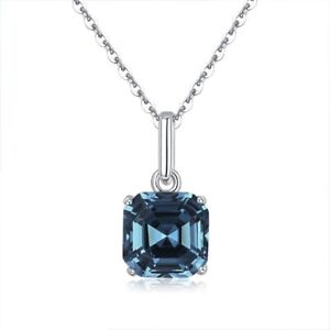 925 Sterling Silver Made With Swarovski Crystal Slim Square Sapphire Necklace