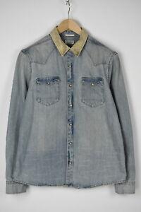 ALLSAINTS SLIM FIT REED Men's LARGE Rigid Denim Corduroy Trim Shirt 31808-GS