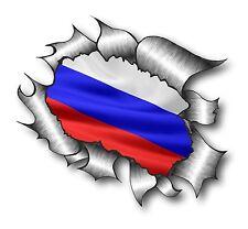 Ripped Torn Metal Look Design Russia Russian Country Flag vinyl car sticker Gaz