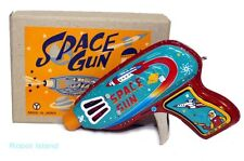 Vintage Style Japan Space Gun Tin Toy Yonezawa Senko Ray Gun light blue version