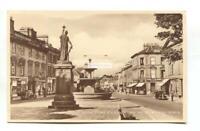 Elgin, Morayshire - High Street, fountain, shops, cars - c1940's postcard