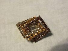"Beautiful Brooch Pin Gold Tone Filled Yellow Gold Amber Rhinestones 1 5/8x1 3/8"""