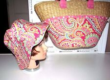 VERA BRADLEY LARGE STRAW SEASHELL CAPRI MELON RESORT BEACH TOTE SHELLS ON W/ HAT