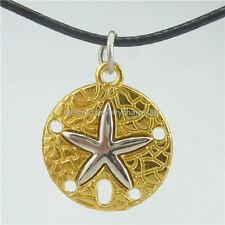 "Pentagram Starfish Beach Sand Dollar Pendant 16"" Collar Choker Necklace 13658"