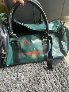 Vintage HEAD 80s 90s Holdall Gym Duffle Weekend Sports Travel Bag Green & Black
