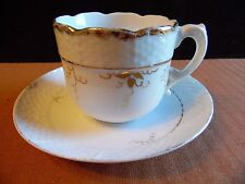 Vintage Hand Painted Gold Leave Vine Basket Weave White Tea Cup & Saucer Set