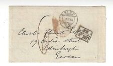 1869 Brigue Switzerland to Edinburgh Stampless Boxed French Exchange Letter