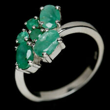 NATURAL GREEN EMERALD STERLING 925 SILVER RING SZ 6