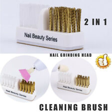 Manicure Tools Dual Brush Nail Drill Bits Copper Wire Cleaner Cleaning Brush