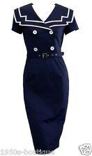 Dress Sailor Vintage Rockabilly Nautical 50s Pinup Party Swing S Retro Blue Vtg
