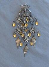 Vintage Crown Heart 830 Silver Norway Solje Kite Dangles Pin Pendant