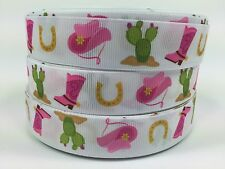 "Clearance 5 Yards Adorable Printed 7/8"" Cute Cowgirl Grosgrain Ribbon Lisa"
