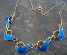 Attractive Norwegian Sterling Silver & Blue Enamel Necklace -  Ivar Holt Norway