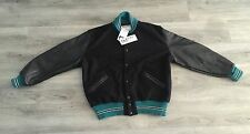 VINTAGE 1989 DELONG BLACK & TEAL VARSITY LETTERMAN JACKET MENS 2XL **BRAND NEW**