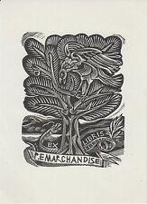 Ex-libris Paul MARCHANDISE gravé sur bois par John DIX - Belgique.