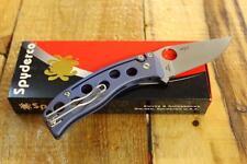 "NEW Spyderco C192TIBLP PITS Blue Titanium Ti Folding Knife 3"" N690Co Steel Blade"