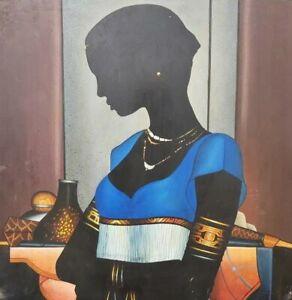 "ORIGINAL HAITIAN FINE ART OIL PAINTING MASTER EMILCAR SIMILIEN ""FEMME"" HAITI"
