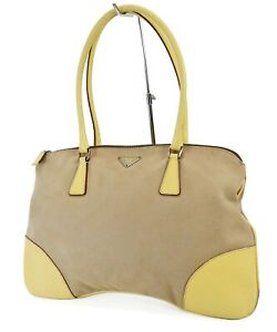Auth PRADA Beige Canvas and Yellow Leather Tote Hand Bag Purse #39456