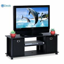 Tv Stand Black Wood Cabinet Home Entertainment Media Center Console Electric