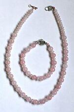 Handmade Rainbow Coated Rose Quartz Rondelles & Rose Quartz Necklace & Bracelet