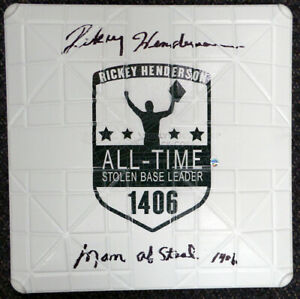 RICKEY HENDERSON AUTOGRAPHED COMMEMORATIVE BASE MAN OF STEAL 1406 STEINER 112652