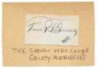 Frank Bowerman New York Giants Autograph MLB 1895-1909 Christy Mathewson