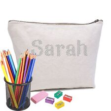 Personalised Crystal Pencil Case Accessory Cotton bag for Any teachers gifts
