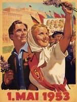 PROPAGANDA COMMUNISM DDR EAST GERMANY 1 MAY 1953 POSTER ART PRINT BB2384B