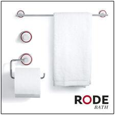 RODE 3pc BATHROOM ACCESSORY SET Designer Towel Rail Toilet Roll Holder White Red