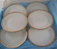 Set of 6 Dinner Plates Anchor Hocking Fire King Milk Glass Anniversary Gold