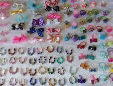 Littlest Pet Shop LPS Accessories Custom 3 Crystal Necklaces & 3 Hair Bows