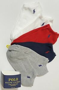 Polo Ralph Lauren Men's Athletic 6-Pair  Low Cut Socks Gray/Navy/Red/White