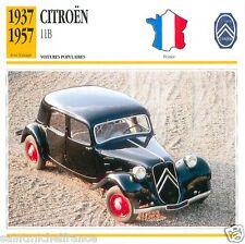 CITROËN 11B 1937 1957 CAR VOITURE FRANCE CARTE CARD FICHE