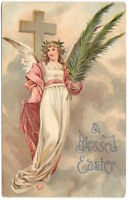 Easter Postcard an Angel Flying with a Cross~104815