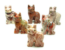 CARVED - Red DOLOMITE CAT Spirit Animal Totem w/Card- Healing Reiki Stone