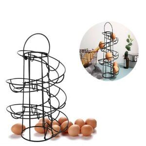 Egg Holder Spiral Skelter Egg Storage Tray Holder Stand Rack Black